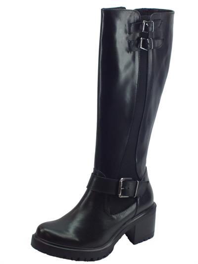 Articolo Stivali Mercante di Fiori in pelle nera con tacco alto lampo ed elastico
