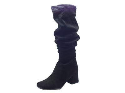 Stivali Mercante di Fiori in tessuto elasticizzato nero taglio ginocchio tacco medio