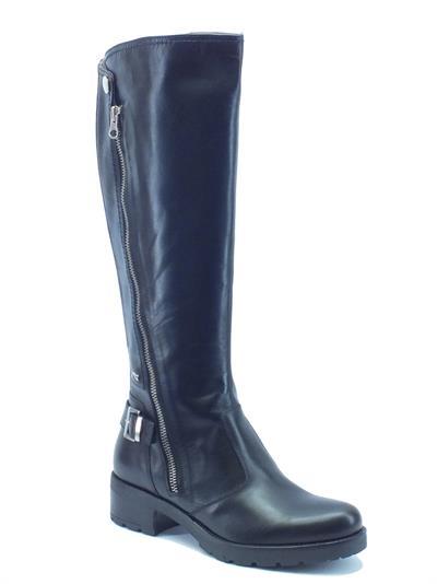Stivali NeroGiardini donna in pelle nera tacco 4cm modello cavallerizzo