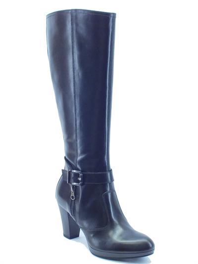 Stivali NeroGiardini donna in pelle nera tacco 7cm