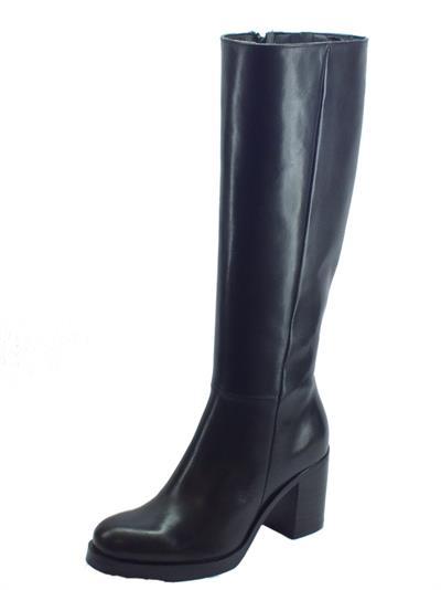 Stivali Pegunta in pelle nera tacco alto