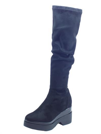 Articolo Stivali Pegunta in tessuto elasticizzato nero zeppa alta tagli al ginocchio