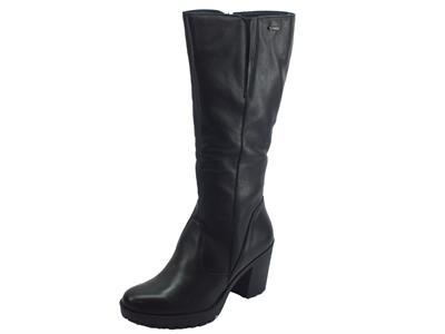 Stivali per donna Igi&Co in pelle nera con tacco alto