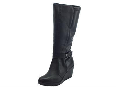 Articolo Stivali per donna Igi&Co in pelle nera con zeppa alta