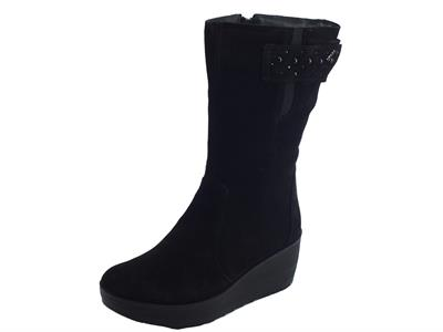 Articolo Stivali per donna Igi&Co in scamosciato nero con lampo elastici e strappo