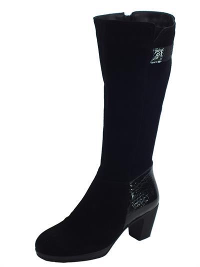 Articolo Stivali Susimoda per donna in camoscio nero e vernice effetto pitonato nero