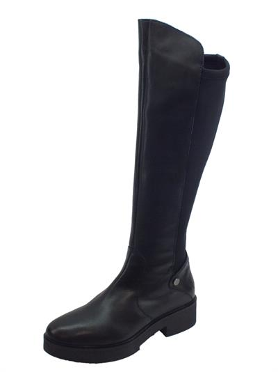 Articolo Stivali tecnici CafèNoir per donna in pelle e tessuto nero tacco basso