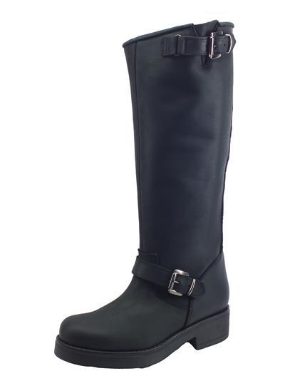 Articolo STM Stivali modello Cavallerizzo Alto per Donna in nabuk nero con fibiette e fondo medio