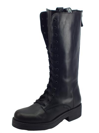 Articolo STM Stivali modello Paracadutisti per Donna in vera pelle nera lacci lampo posteriore fondo alto