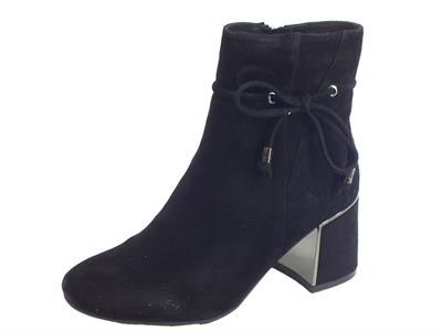 CafèNoir HLA562 010 Nero Tronchetti Donna in camoscio nero tacco alto