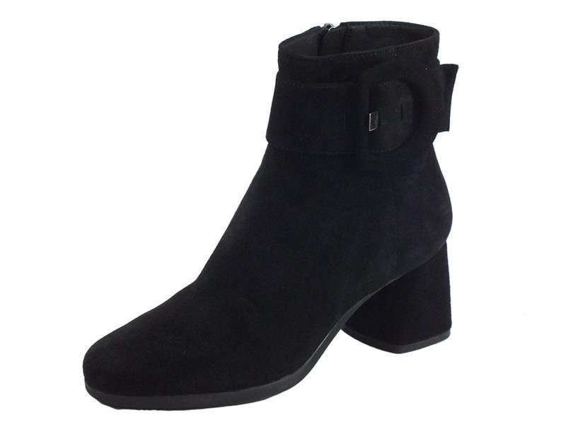 Geox D94EFA Calinda Black Tronchetti eleganti Donna in camoscio con lampo e fibbiona