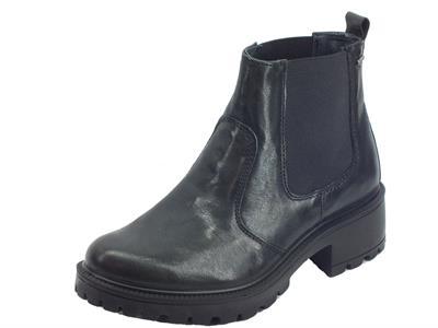 Igi&Co 4170700 Capra Me. Parker Nero Tronchetti Donna modello Beatles in pelle nera doppio elastico