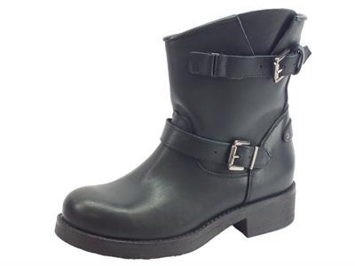 Articolo Tronchetti Deky per donna in pelle nera gambale corto