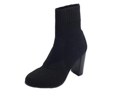 Articolo Tronchetti per donna Cafè Noir in tessuto elasticizzato spugnoso nero tacco alto