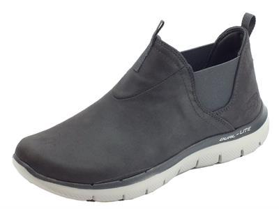 Articolo Tronchetti Skechers per donna in ecopelle grigio con elastici laterali