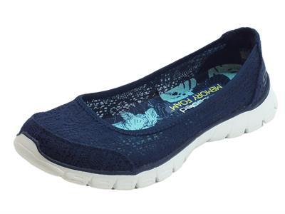 Ballerine Skechers Flex in tessuto macramè blu