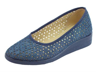 Ballerine Susimoda per donna in tessuto magic blu traforato