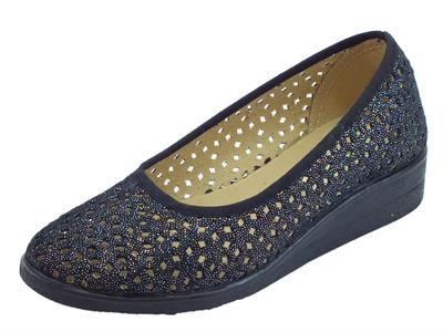Ballerine Susimoda per donna in tessuto magic nero traforato