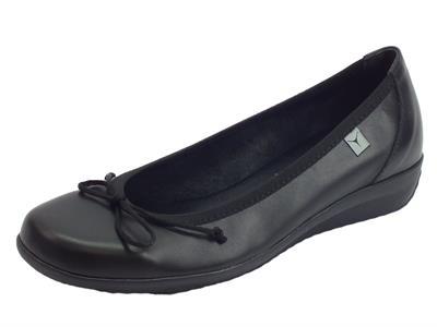Cinzia Soft ballerine per donna in pelle nera zeppa 2cm