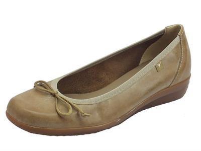 Cinzia Soft ballerine per donna in pelle taupe zeppa 2cm