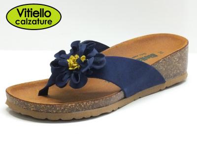 Articolo Bionatura infradito in nabuk blu con fiore colore giallo e sottopiede in pelle