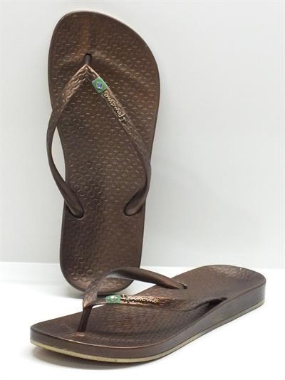 Infradito per donna iPanema in caucciù bronzo con zeppa 2cm