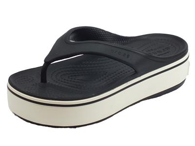 Crocs Platform flip black white infradito donna in gomma nera zeppa alta