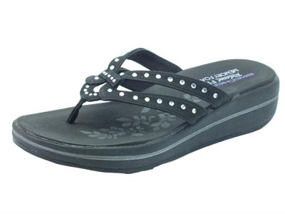 Articolo Infradito Skechers Be Jeweled per donna colore Nero zeppa media