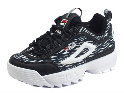 Fila 1010863.9YU Distruption Animal WMN Zebra Black Scarpe sportive Donna tessuto zebrato