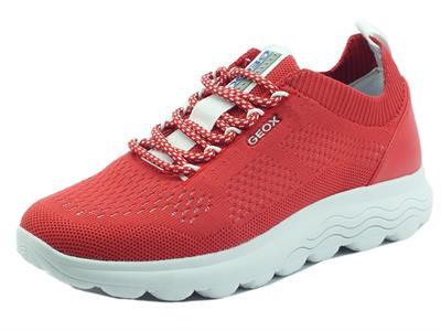 Articolo Geox D15NUA Spherica Knitted Text Red Scarpe Sportive per Donna in tessuto rosso