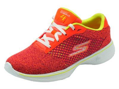 Articolo Scarpe da ginnastica Skechers per donna in tessuto arancio giallo