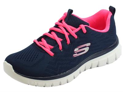 Scarpe Skechers Get Connecetd per donna in tessuto blu hot pink