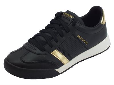 Articolo Scarpe Skechers per donna Los Angeles Flicker in ecopelle nera e gold