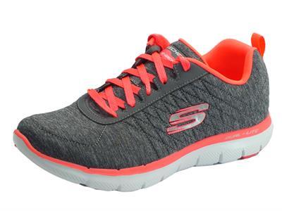 Articolo Scarpe sportive per donna Skechers Flex Appeal in tessuto grigio e corallo