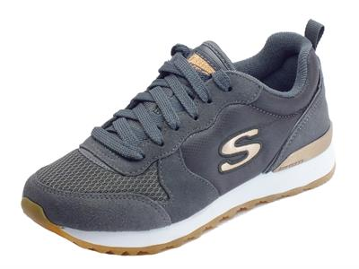 Scarpe sportive per donna Skechers Originals in tessuto e camoscio colore grigio