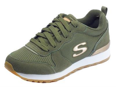 Articolo Scarpe sportive per donna Skechers Originals in tessuto e camoscio colore oliva