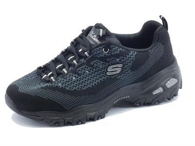 Scarpe sportive Skechers D'Lites per donna in tessuto nero