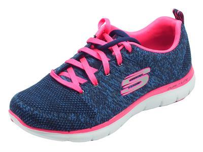 Articolo Scarpe sportive Skechers Flex Appeal per donna in tessuto blu e dettagli rosa