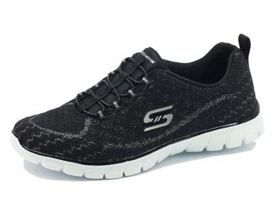 Scarpe sportive Skechers flex per donna in tessuto nero effetto argento
