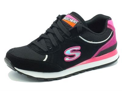 Articolo Scarpe sportive Skechers Original per donna in ecocamoscio nero e viola