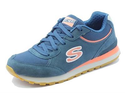 Scarpe sportive Skechers Originals per donna in camoscio e tessuto blu