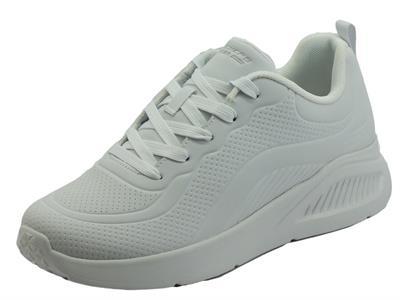 Articolo Skechers 117151 How Street White Scarpe Sportive per Donna in ecopelle