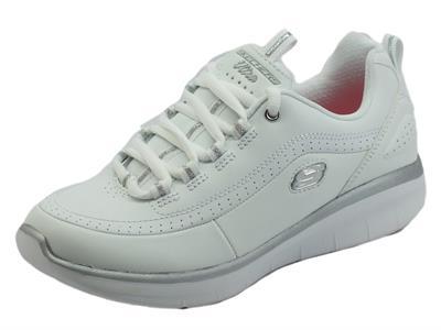 Skechers 12363 Synergy 2.0 White Silver Scarpe sportive per donna in pelle con memory foam