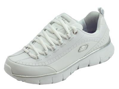 Articolo Skechers 13260 WSL Synergy 3.0 White Silver Scarpe sportive Donna in ecopelle bianca con memory