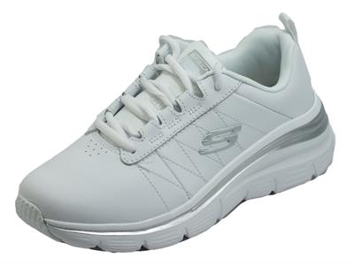 Articolo Skechers 149473/WSL Fashion Fit Effortless White Silver Scarpe Sportive Donna in pelle