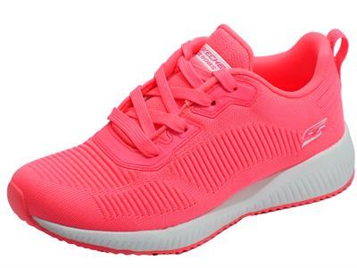 Articolo Skechers 33162/NONK Bobs Squad Glowrider Neon Pink Scarpe Sportive Donna in tessuto