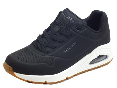 Skechers 73690/BLK Uno Stand On Air Black Scarpe Sportive Los Angeles Donna in ecopelle