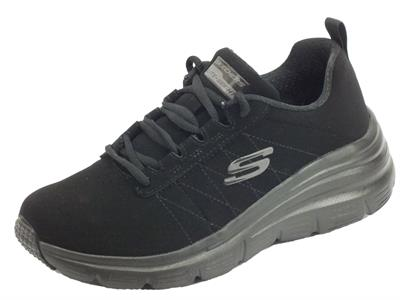 Skechers 88888366 BBK True Feels Black Scarpe sportive Donna in ecocamoscio nero con memory