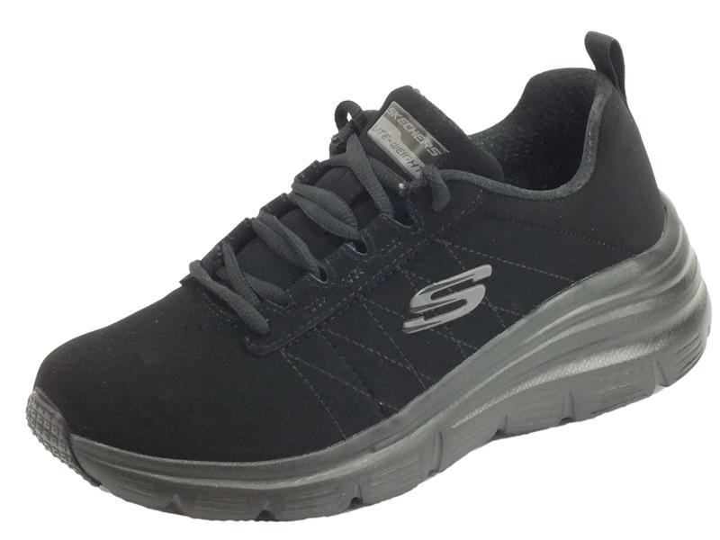 Skechers 88888366 BBK True Feels Black Scarpe sportive Donna in ecocamoscio nero con memory