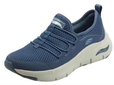 Articolo Skechers Arch Fit 149056 Arch Fit Lucky Thoughts Navy Scarpe sportive per donna in tessuto blu